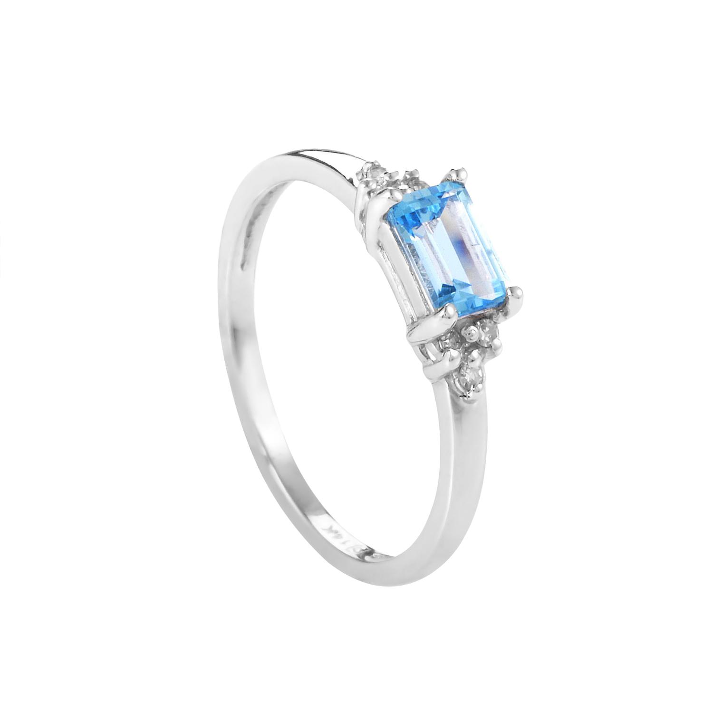 14K White Gold Topaz & Diamond Ring RC4-10233WTOP