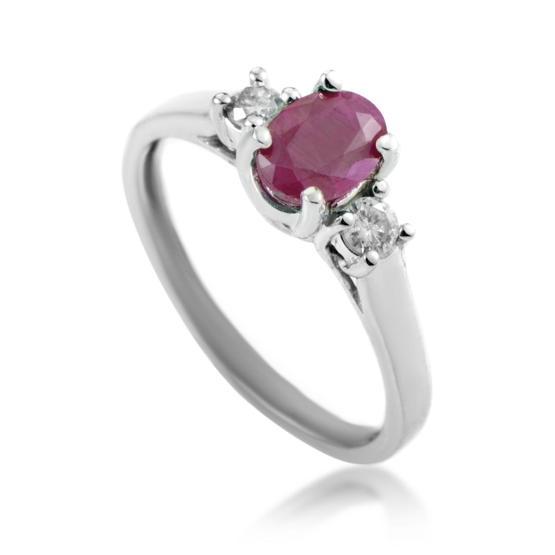 14K White Gold Diamond & Ruby Ring RC4-10328WRU