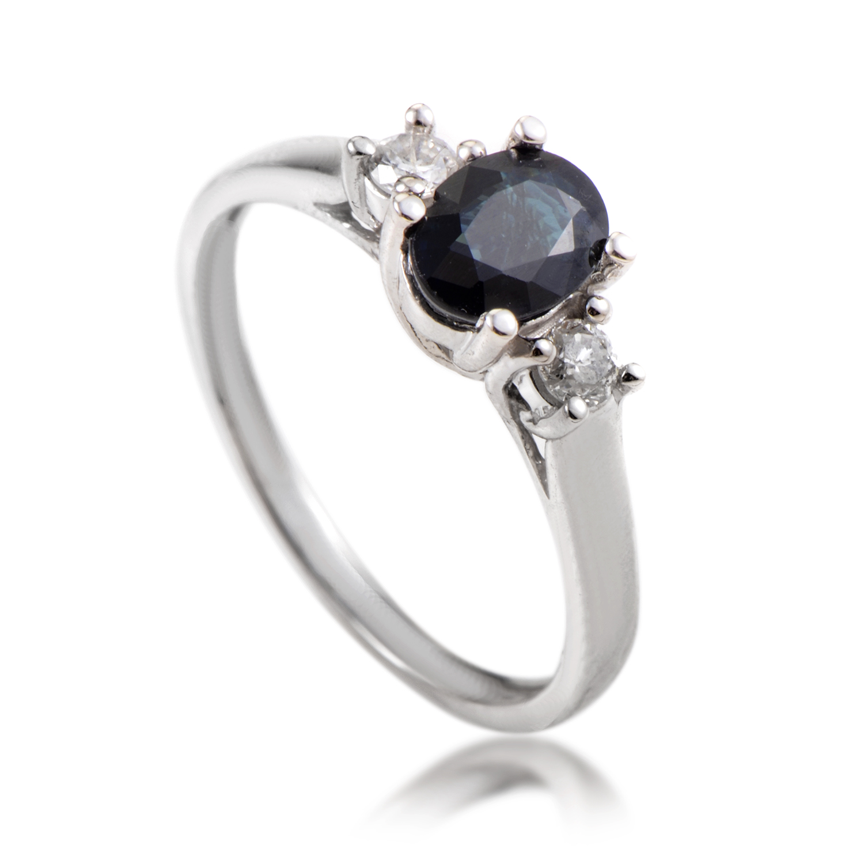 14K White Gold Diamond & Sapphire Ring RC4-10328WSA