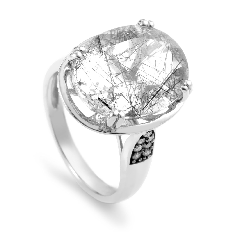 Women's 14K White Gold Diamond & Rutilated Quartz Ring