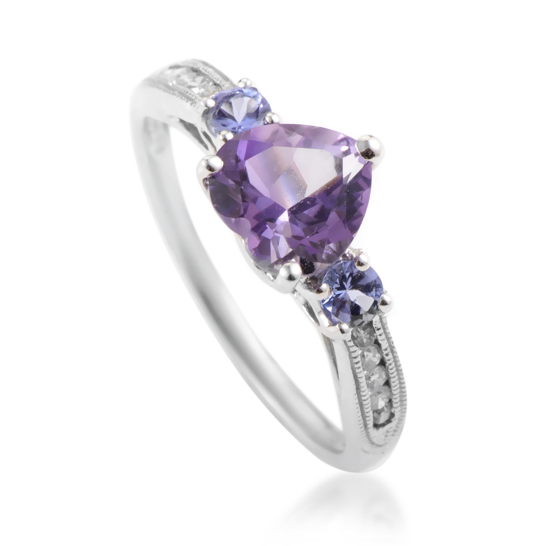 Women's 14K White Gold Diamond & Amethyst Ring RC4-10503WAM