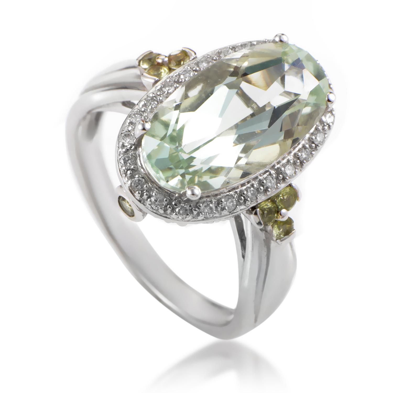 Women's 14K White Gold Diamond & Green Amethyst Ring RC4-10511WAMG