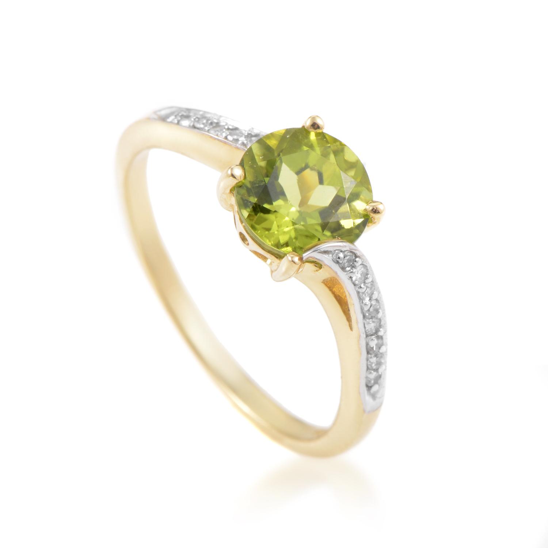 Women's 14K Yellow Gold Diamond & Peridot Solitaire Ring RC4-10518YPE