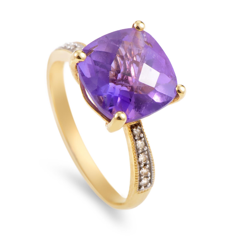 Women's 14K Yellow Gold Diamond & Amethyst Ring RC4-10562YAM