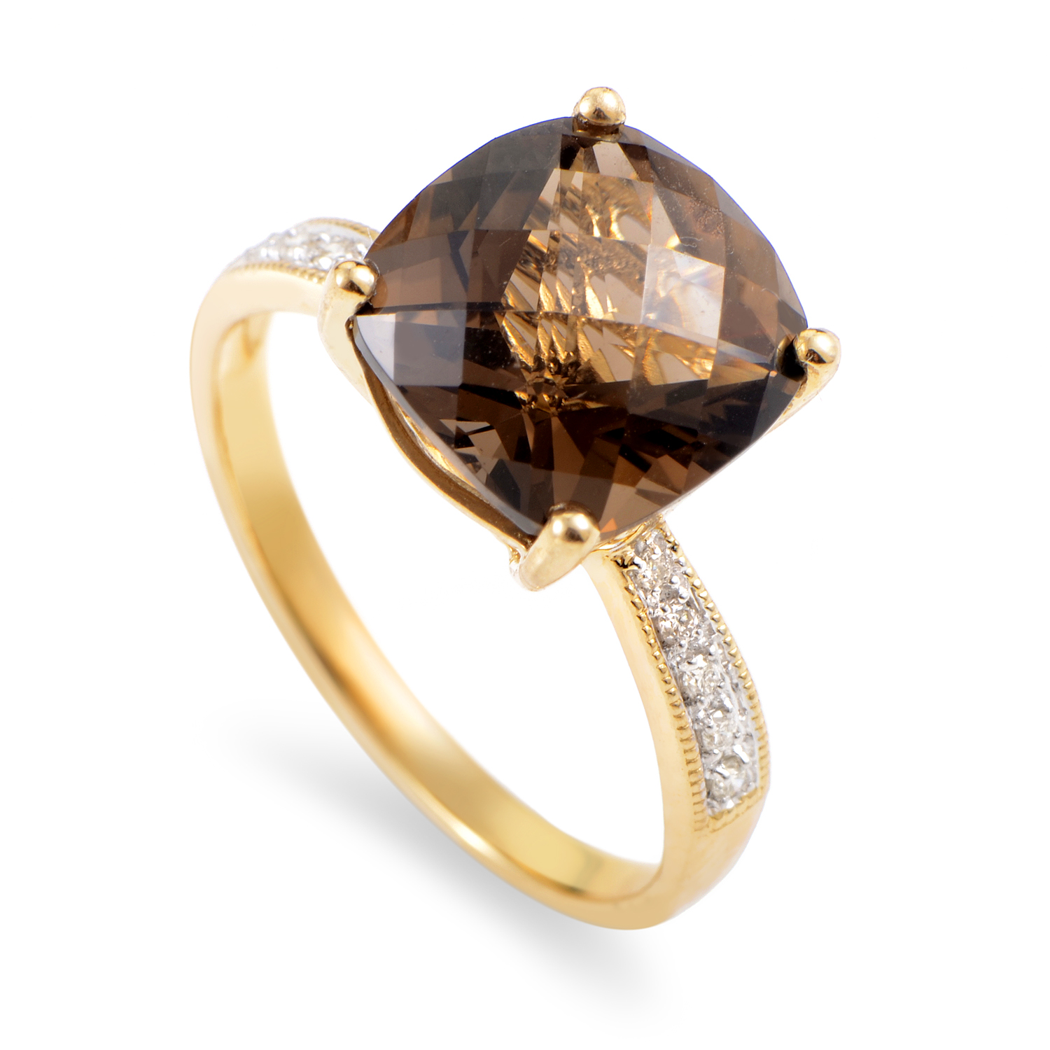Women's 14K Yellow Gold Diamond & Smoky Quartz Ring RC4