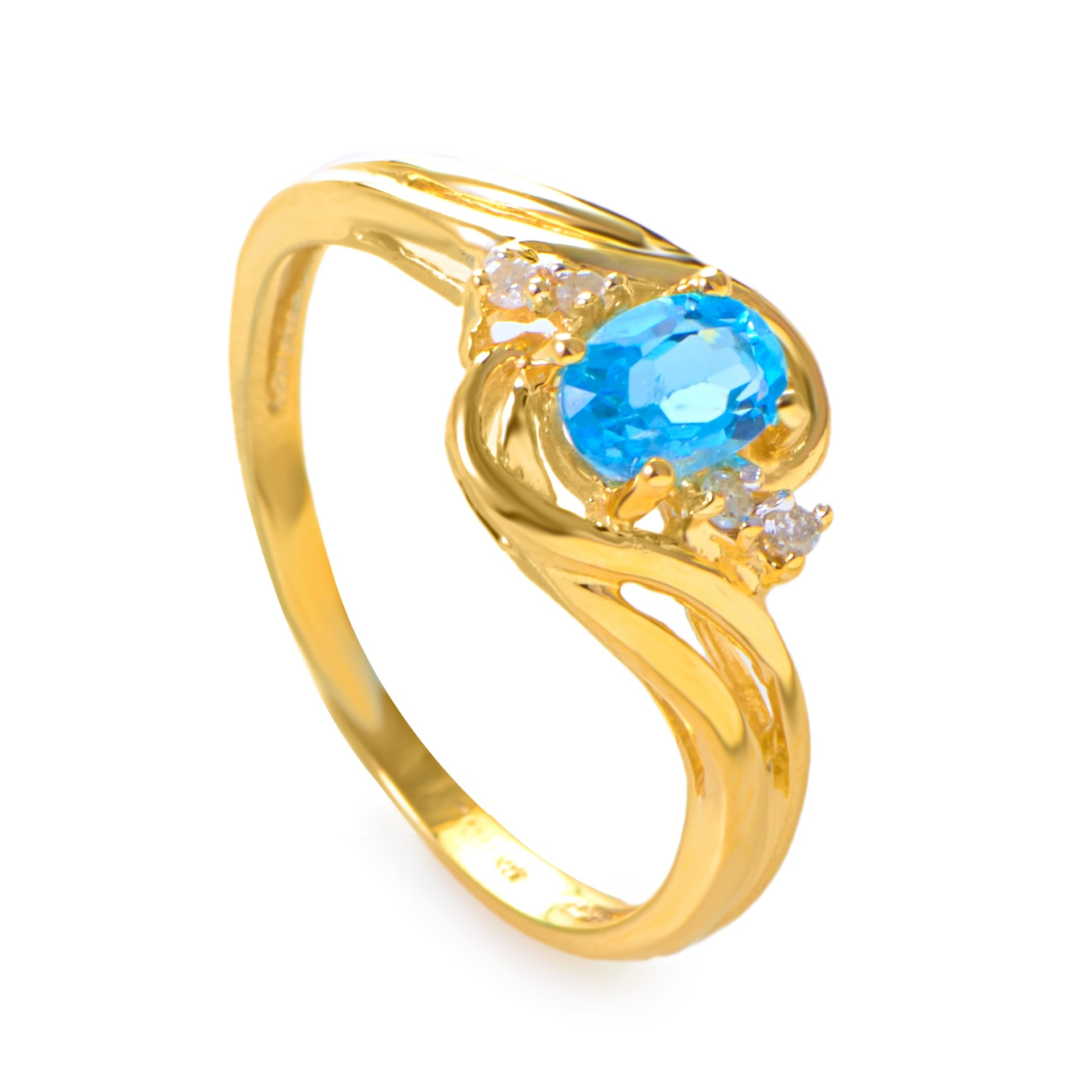 14K Yellow Gold Diamond and Topaz Ring RM1219-07