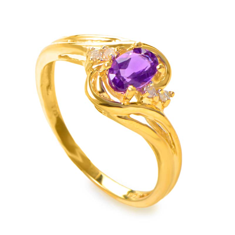 14K Yellow Gold Diamond and Amethyst Ring RM1219-07