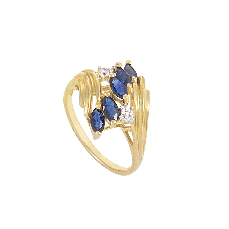 10K Yellow Gold Sapphire & Diamond Ring RM1381YS-10K