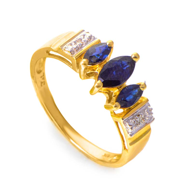 10K Yellow Gold Diamond and Sapphire Ring RM1382WS-10K