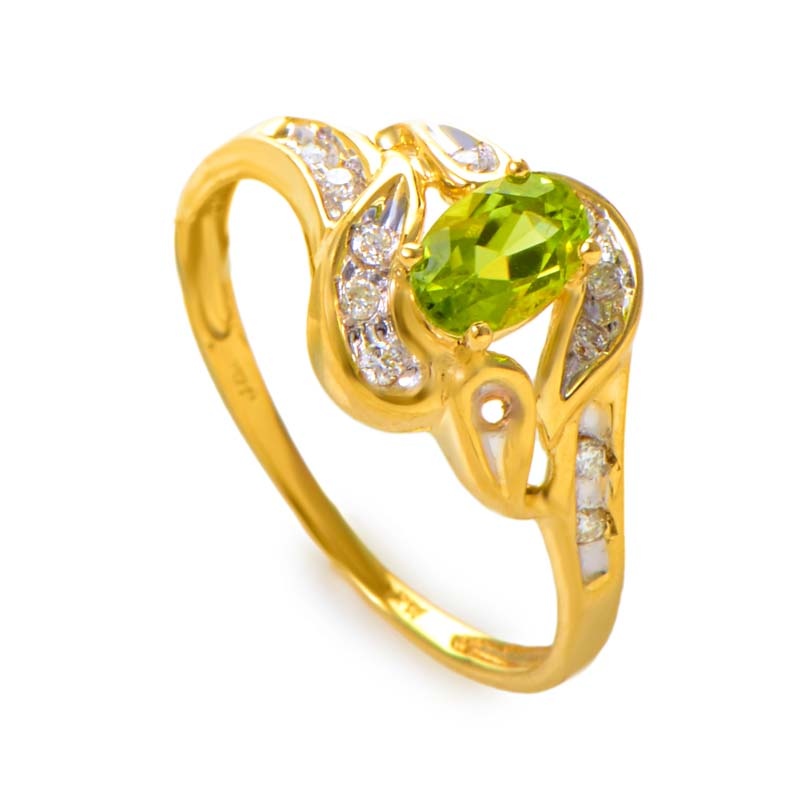 14K Yellow Gold Peridot Gemstone and Diamond Swirl Ring RM1544P