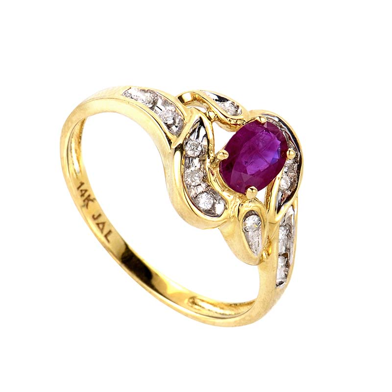 14K Yellow Gold Ruby & Diamond Ring RM1544YR
