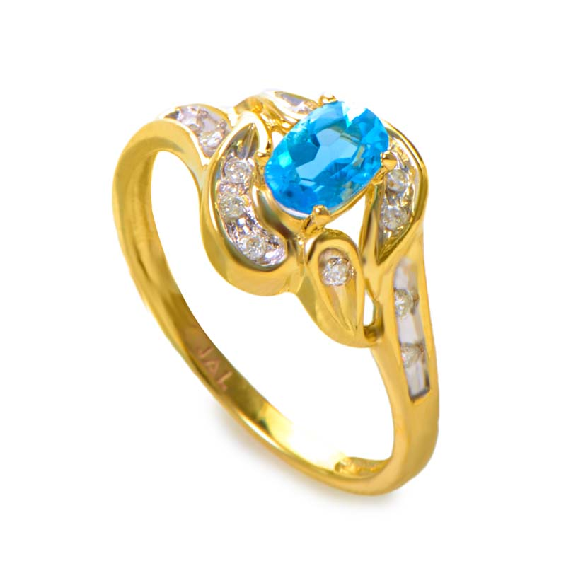 14K Yellow Gold Topaz & Diamond Swirl Ring RM1544-03