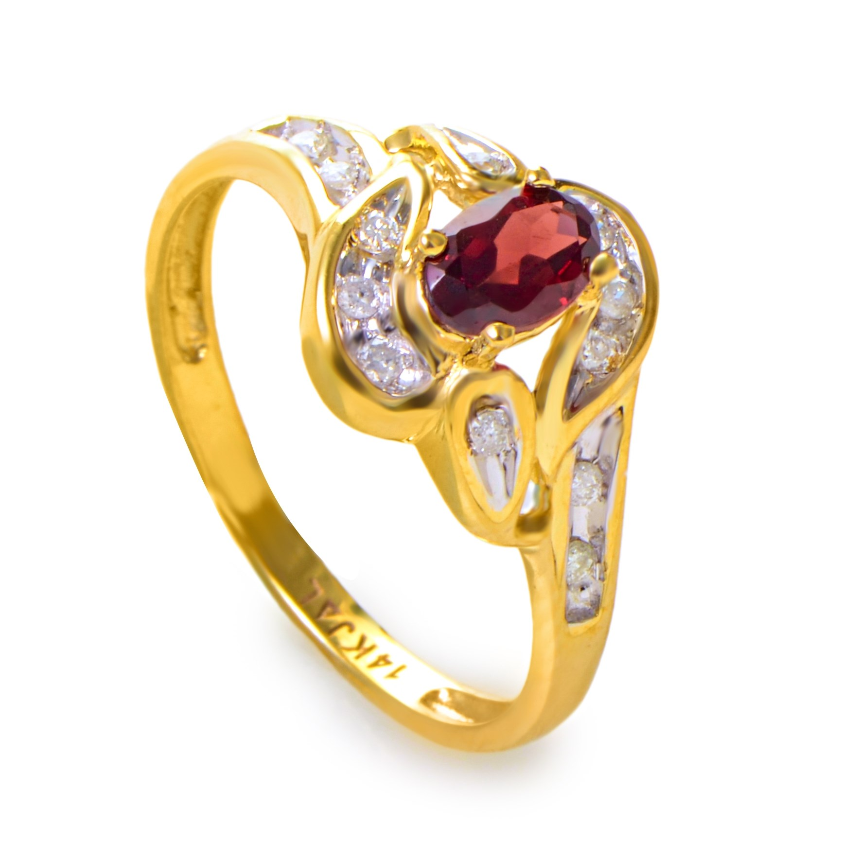 14K Yellow Gold Garnet Stone & Diamond Swirl Ring RM1544-5