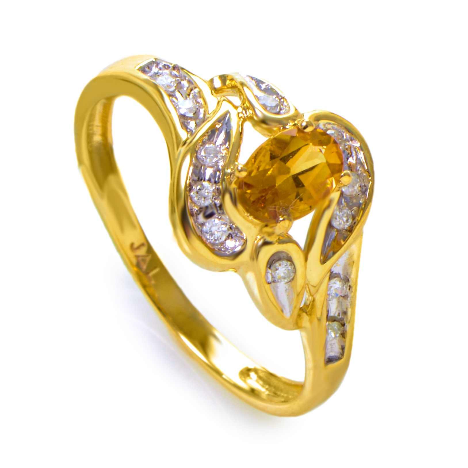 14K Yellow Gold Citrine Stone & Diamond Swirl Ring RM1544-8