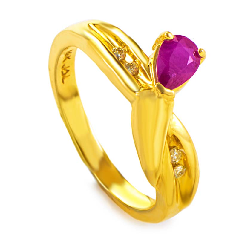 14K Yellow Gold Diamond & Ruby Gemstone Ring RM1591YR