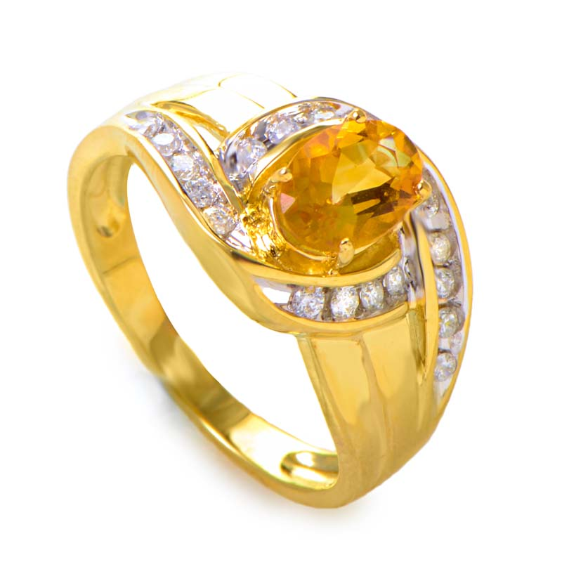 14K Yellow Gold Large Citrine Gemstone and Diamond Swirl Ring RM1644