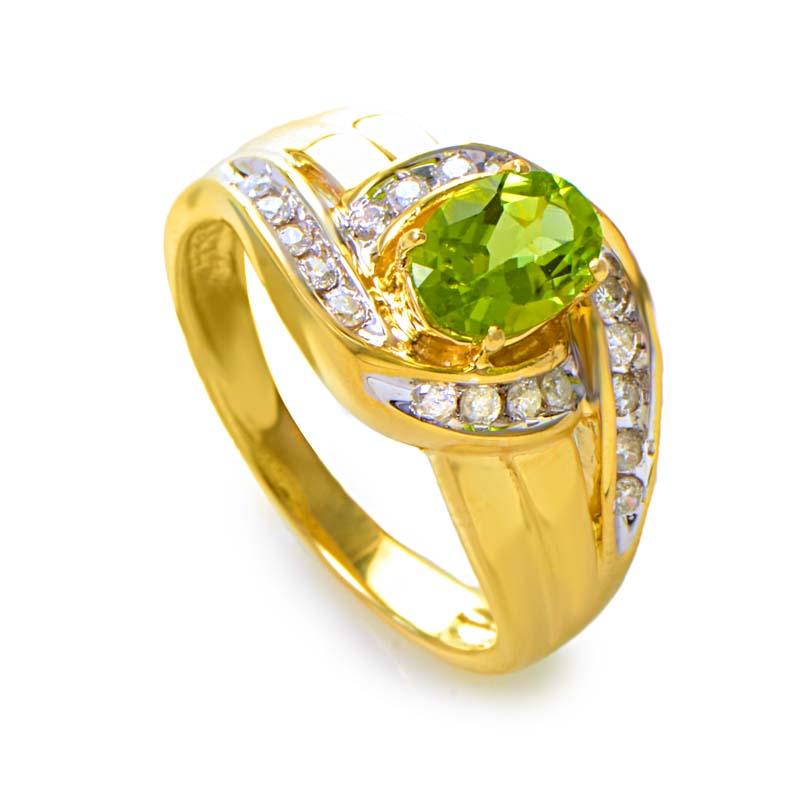 14K Yellow Gold Large Peridot Gemstone and Diamond Swirl Ring RM1644-1