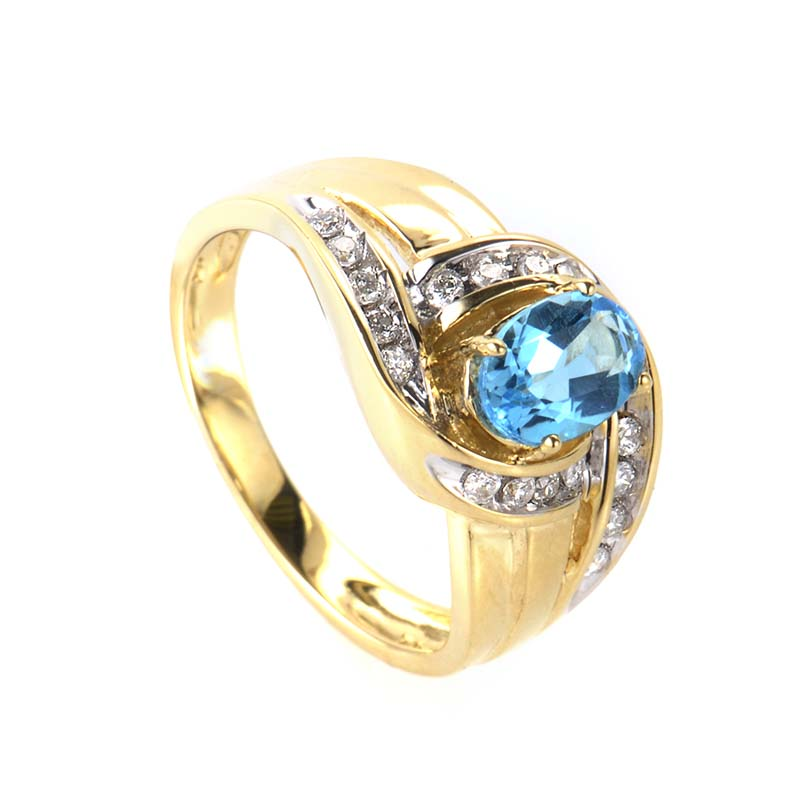 14K Yellow Gold Topaz & Diamond Ring RM1644-2