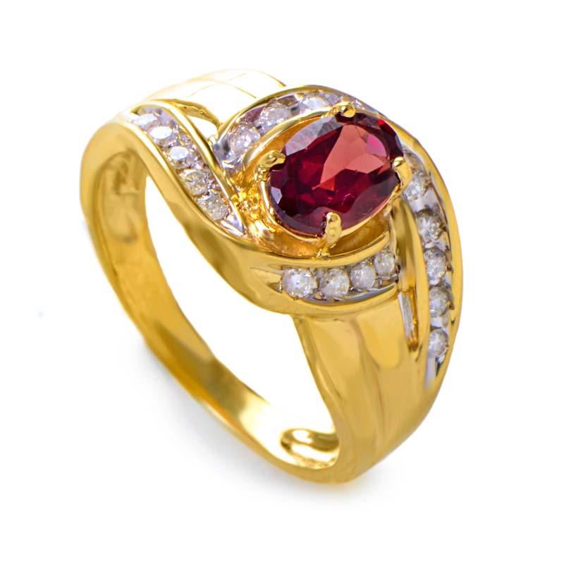 14K Yellow Gold Large Garnet Gemstone and Diamond Swirl Ring RM1644-6