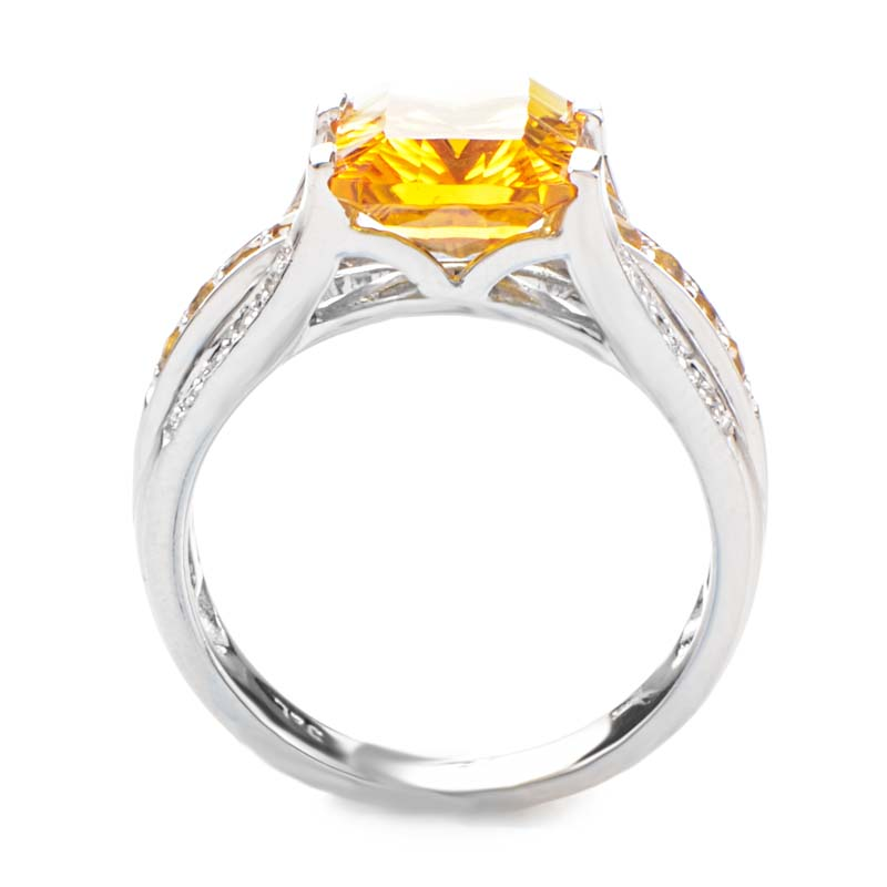14k white gold orange citrine gemstone ring