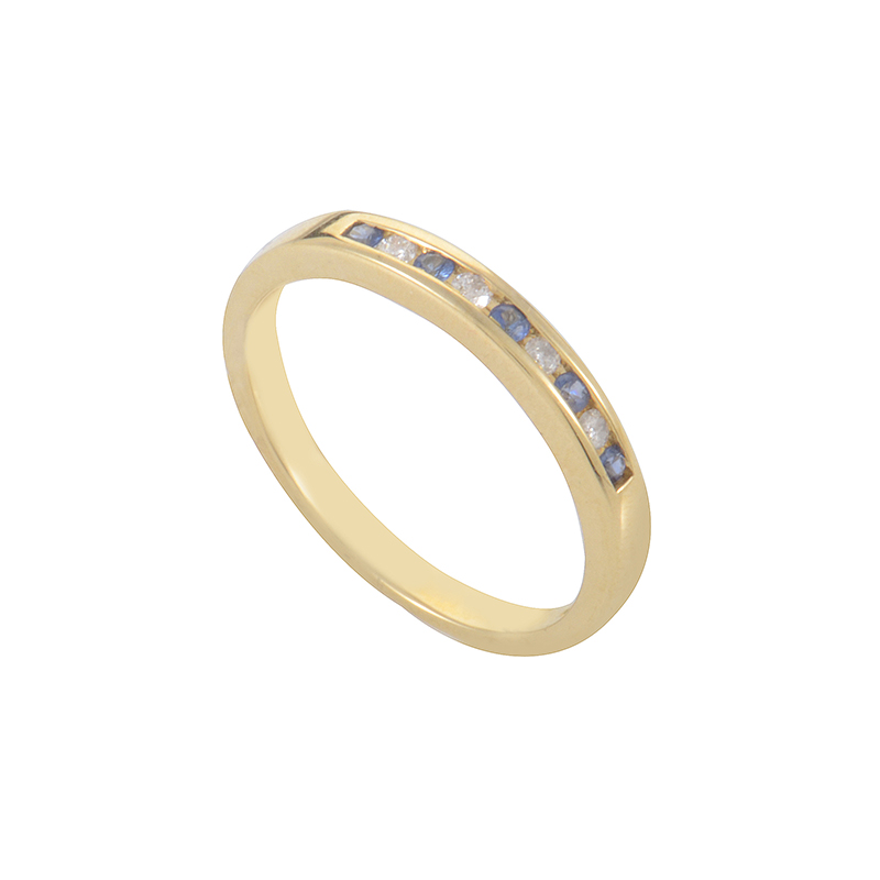 10K Yellow Gold Sapphire & Diamond Band Ring RM2749-09YS