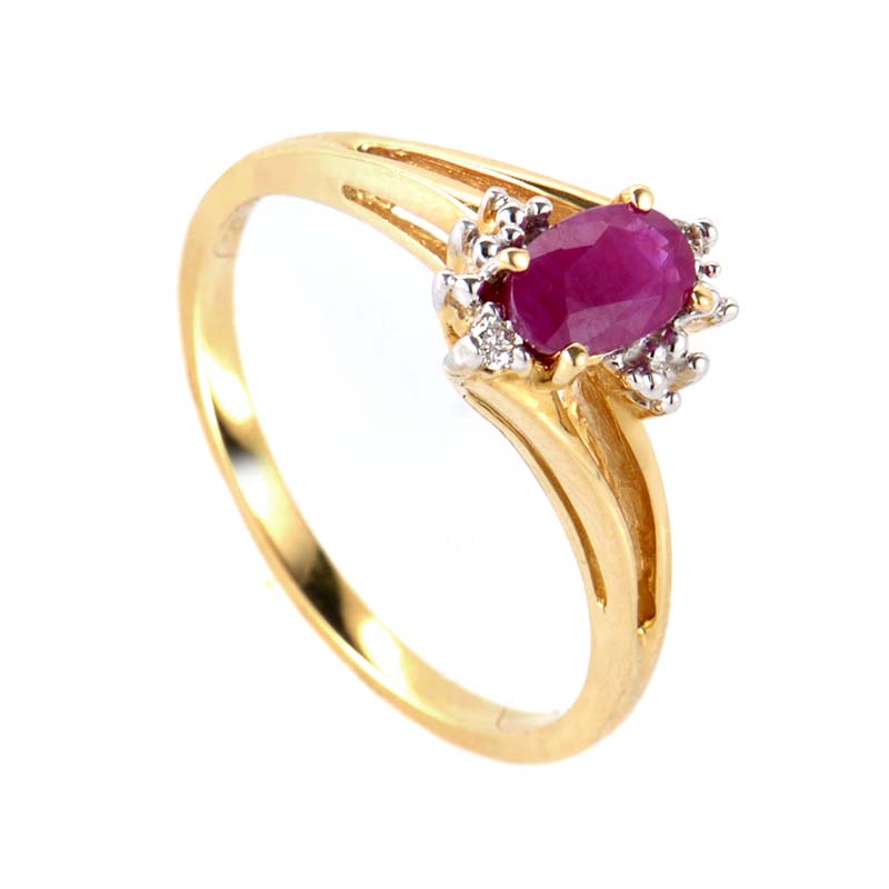 14K Yellow Gold Ruby & Diamond Ring RM2791YR
