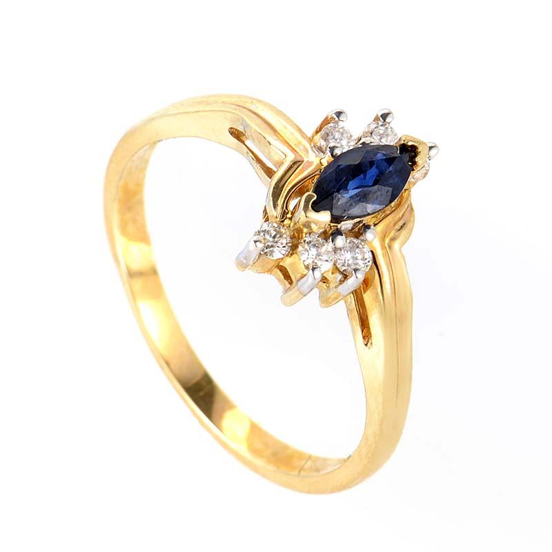 14K Yellow Gold Sapphire & Diamond Ring RM2794YS