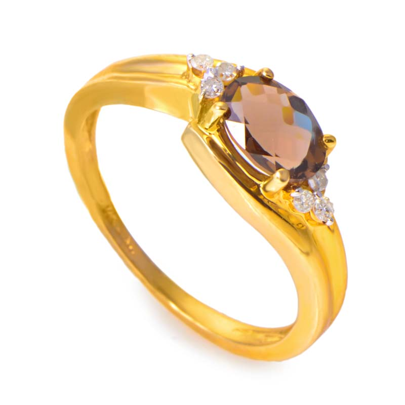14K Yellow Gold Diamond & Topaz Oval Gemstone Ring RM2805-1