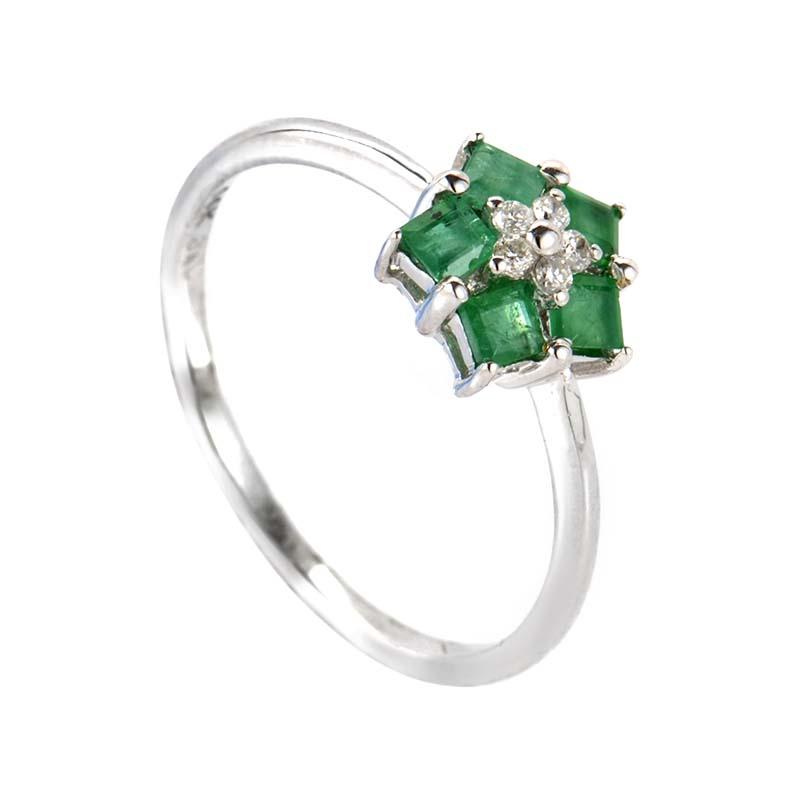 14K White Gold Diamond and Emerald Gemstone Ring RM2944WE