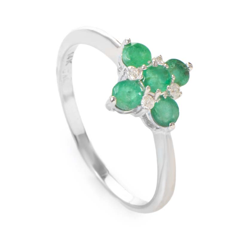 14K White Gold Diamond & Emerald Flower Ring RM2946WE