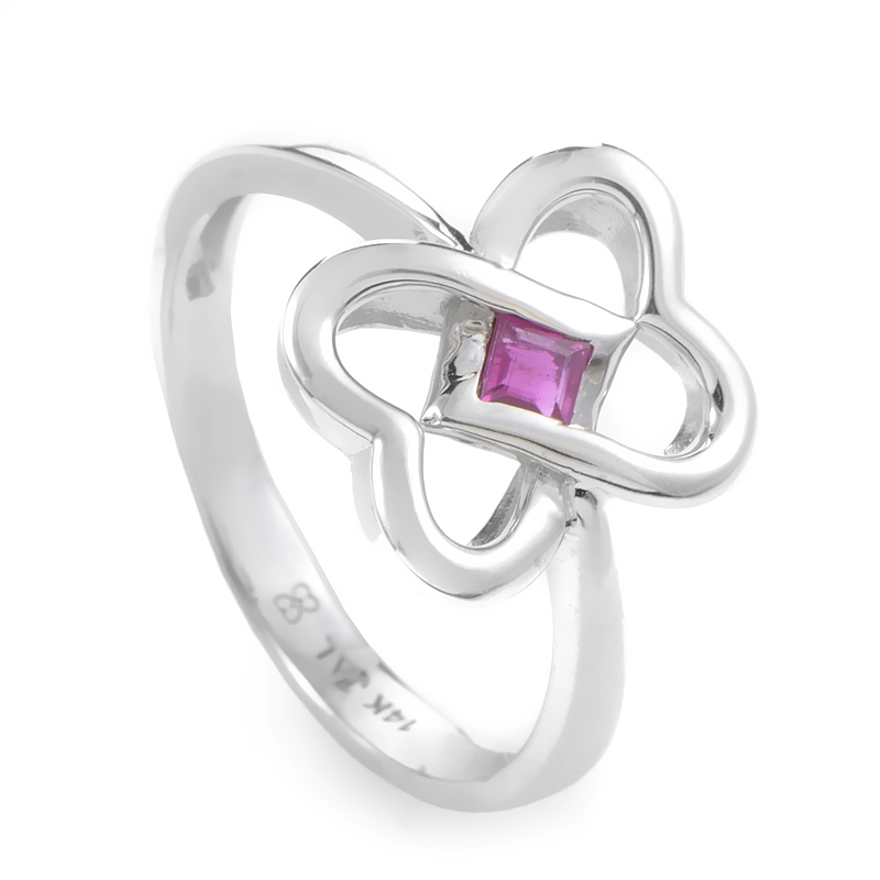 14K White Gold & Ruby Interlocking Hearts Ring RM3598WRU
