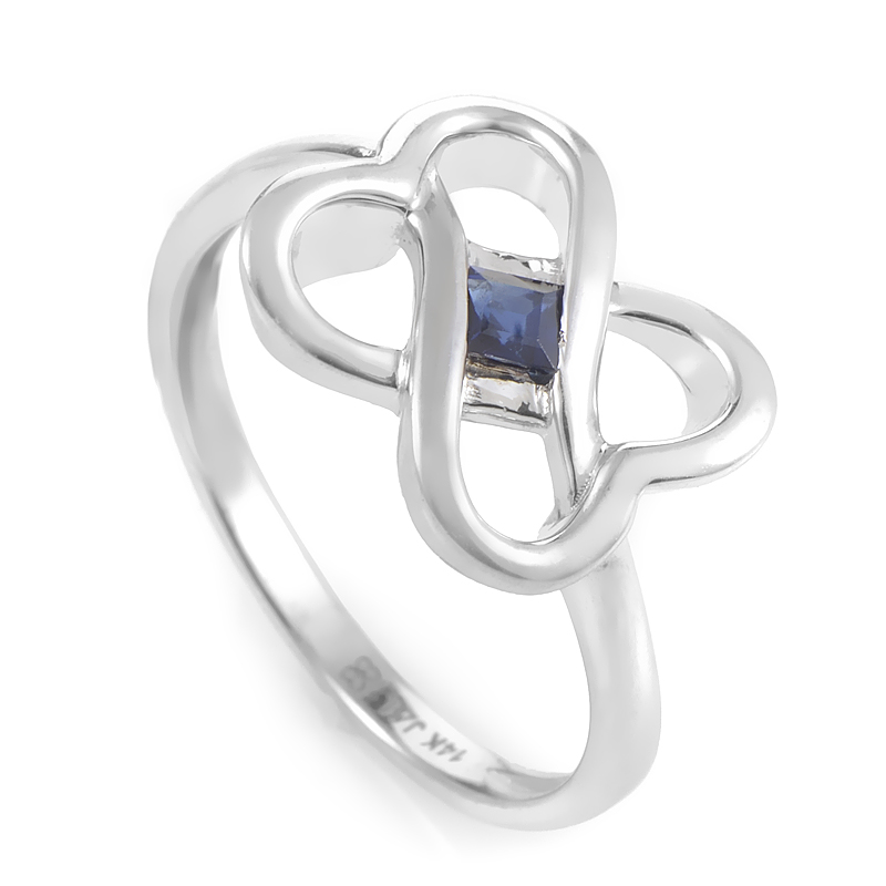 14K White Gold & Sapphire Interlocking Hearts Ring RM3599WSA