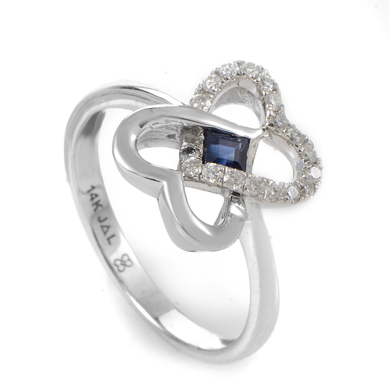 14K White Gold Sapphire & Diamond Interlocking Hearts Ring RM3600WSA