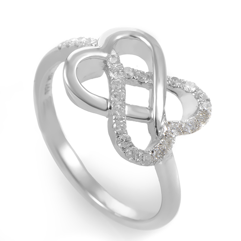 14K White Gold & Diamond Overlapping Hearts Ring RM9746W