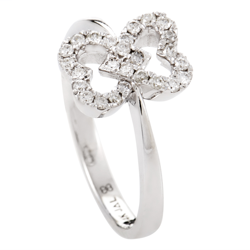 14K White Gold Diamond Pave Overlapping Hearts Ring RM9751W