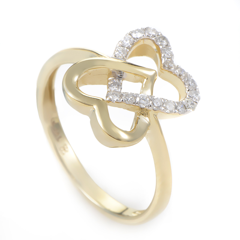 14K Yellow Gold & Diamond Overlapping Hearts Ring RM9752Y