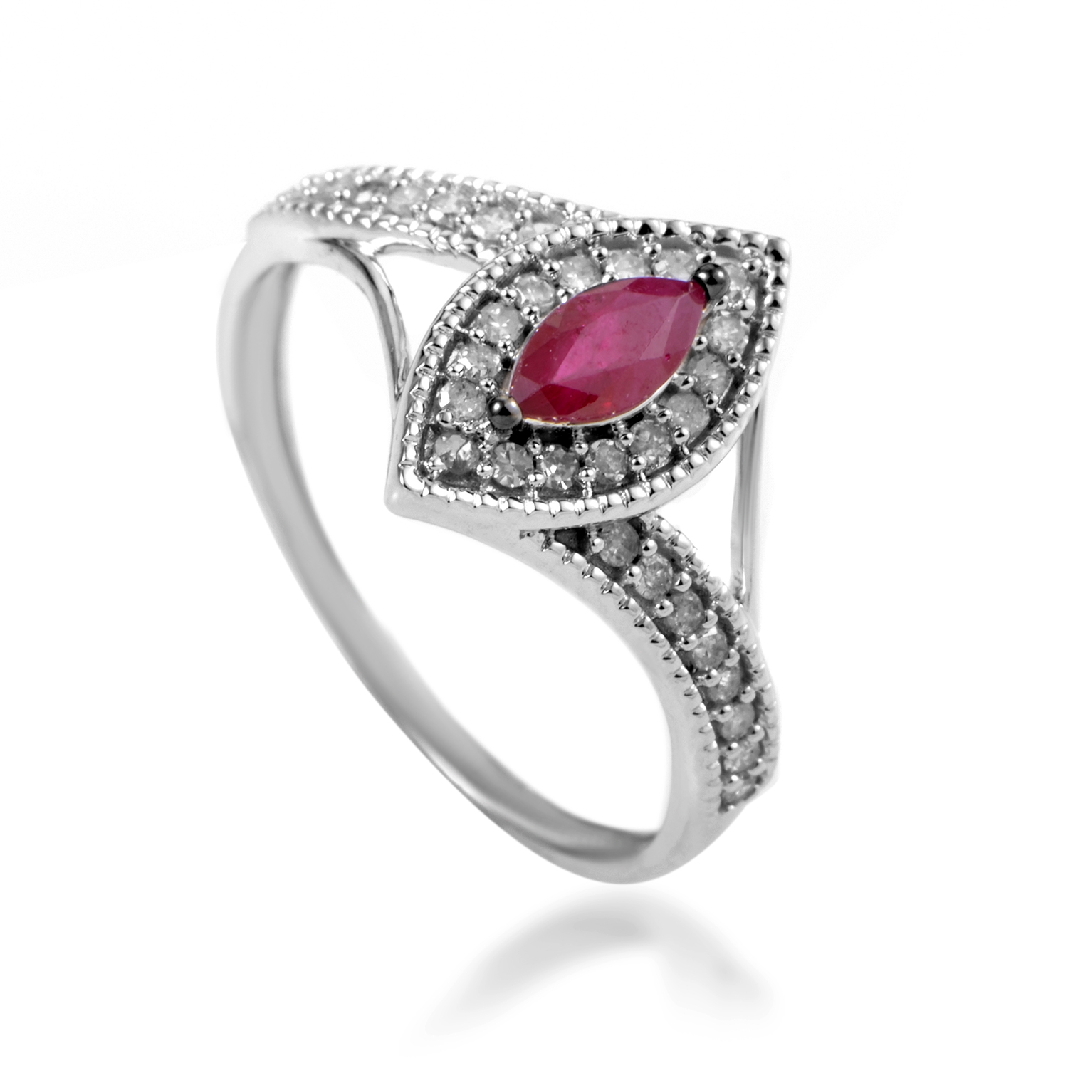 Women's 14K White Gold Diamond & Ruby Ring R1505P006