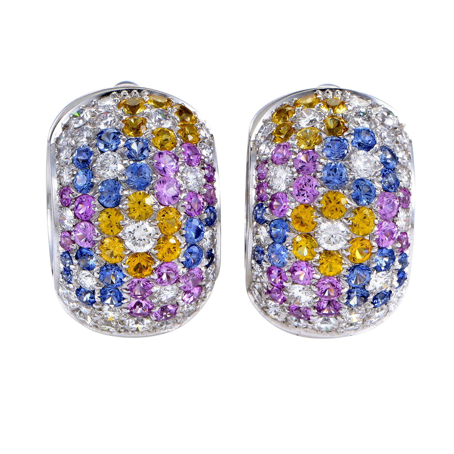 18K White Gold Diamond & Multi-Sapphire Floral Pave Huggie Earrings