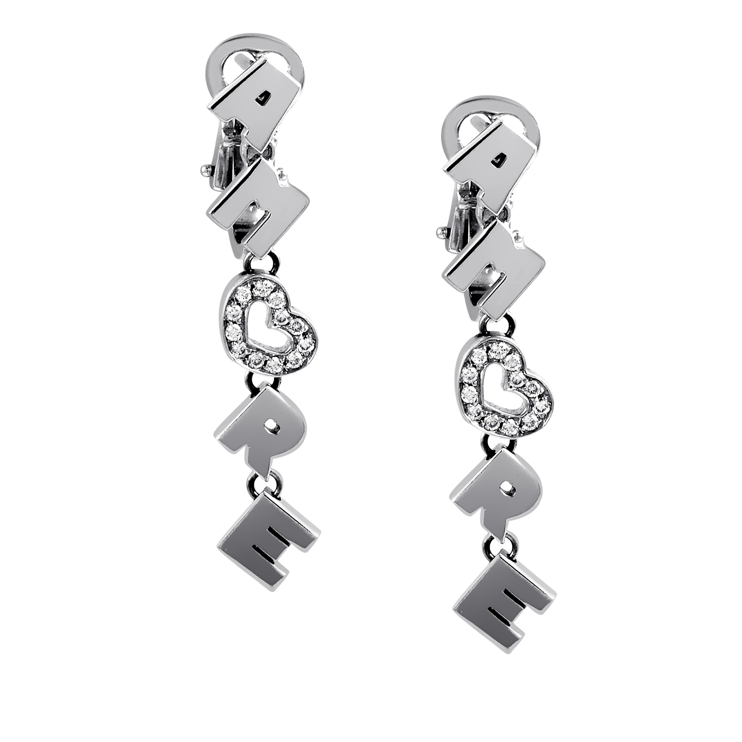Women's 18K White Gold Partial Diamond Pave Amore Earrings