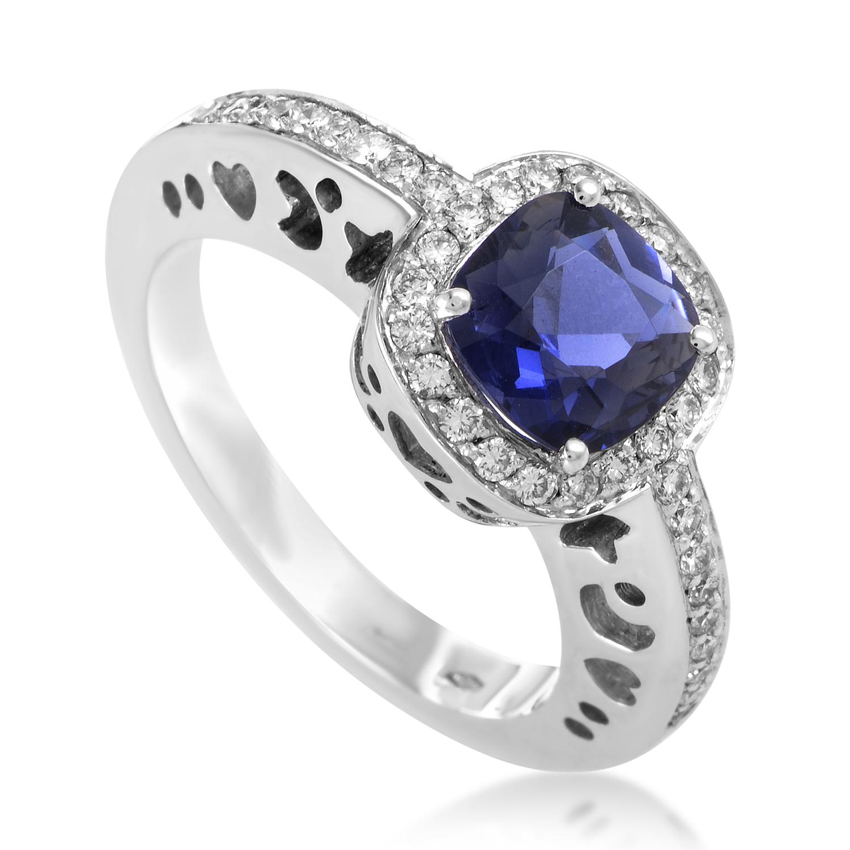Women's 18K White Gold Diamond & Iolite Ring 7238B