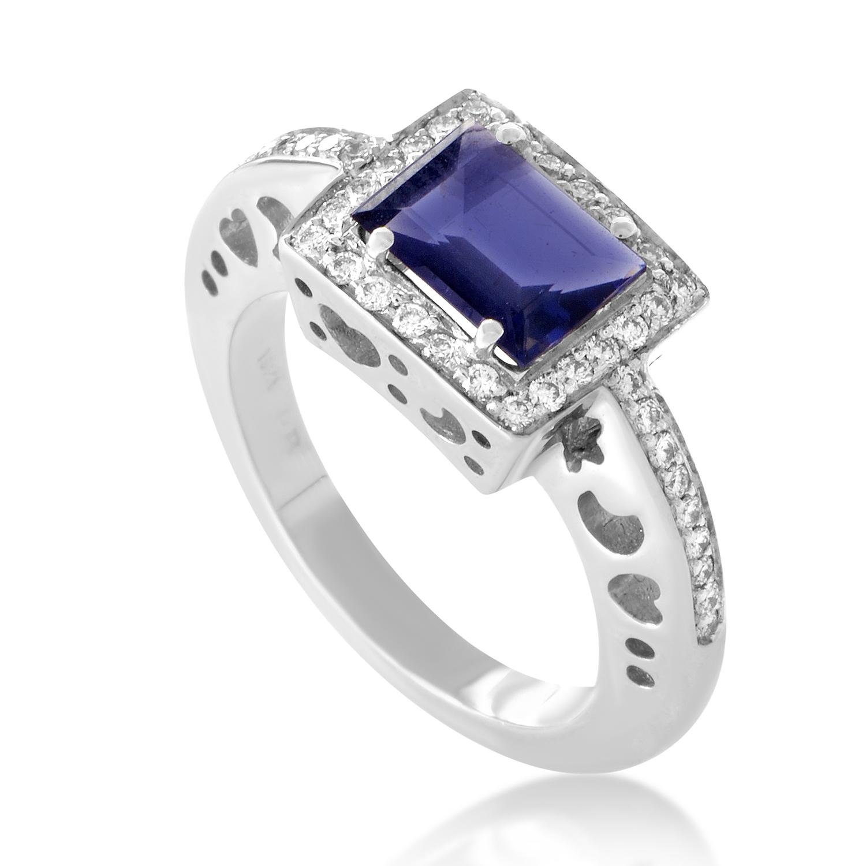 Women's 18K White Gold Diamond & Iolite Ring 7366B
