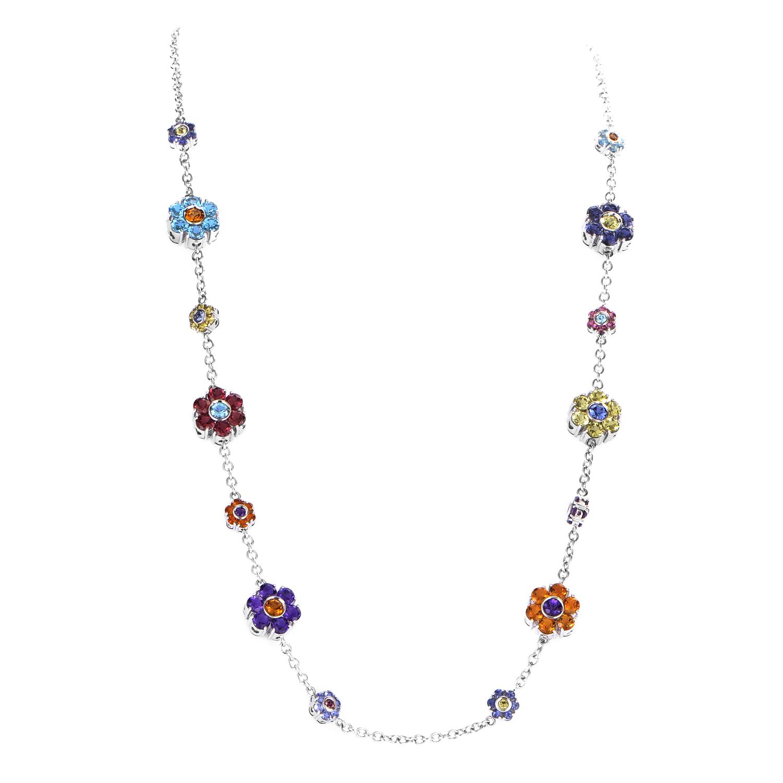Women's 18K White Gold Multi-Gemstone Floral Necklace 8017B