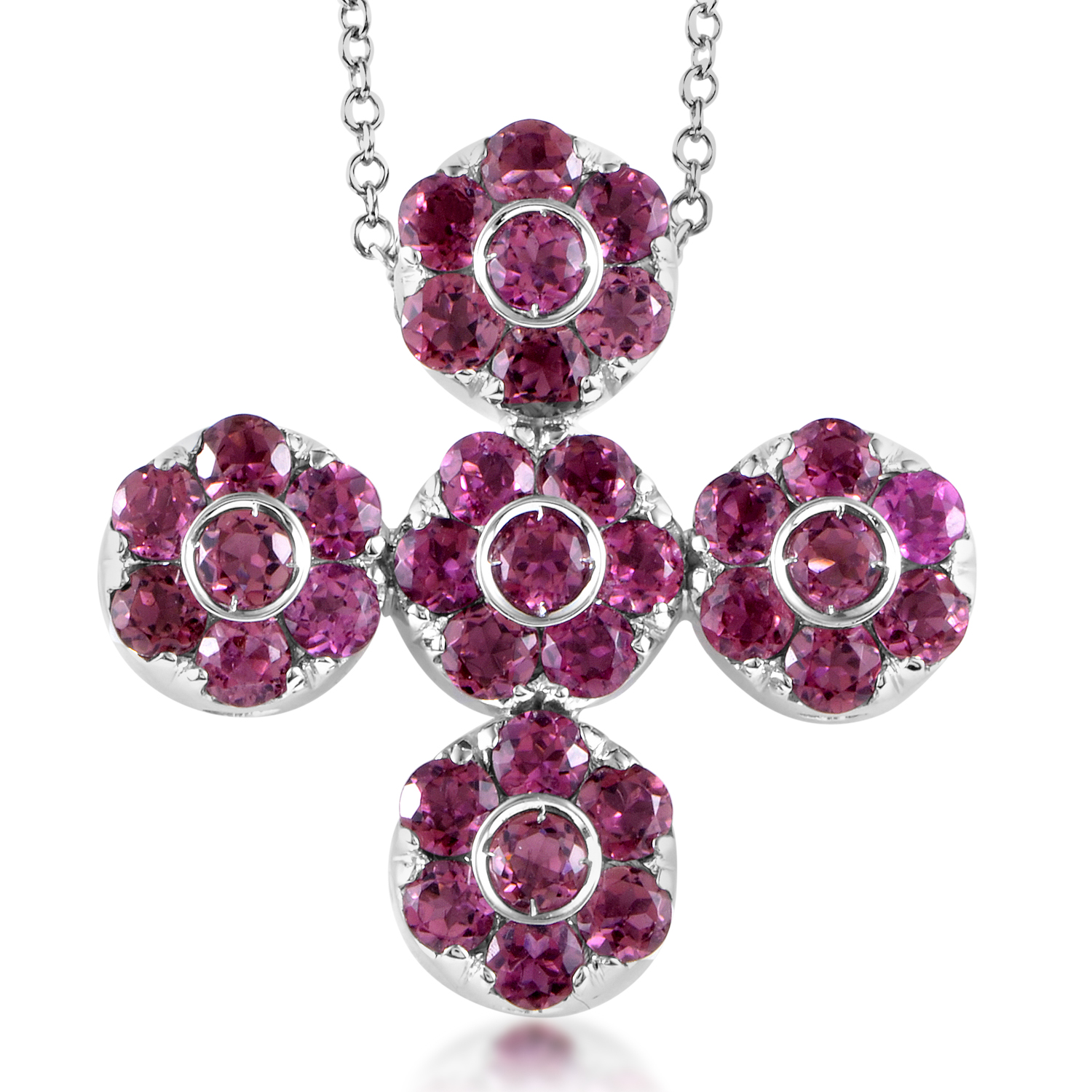 Women's 18K White Gold Tourmaline Cross Pendant Necklace