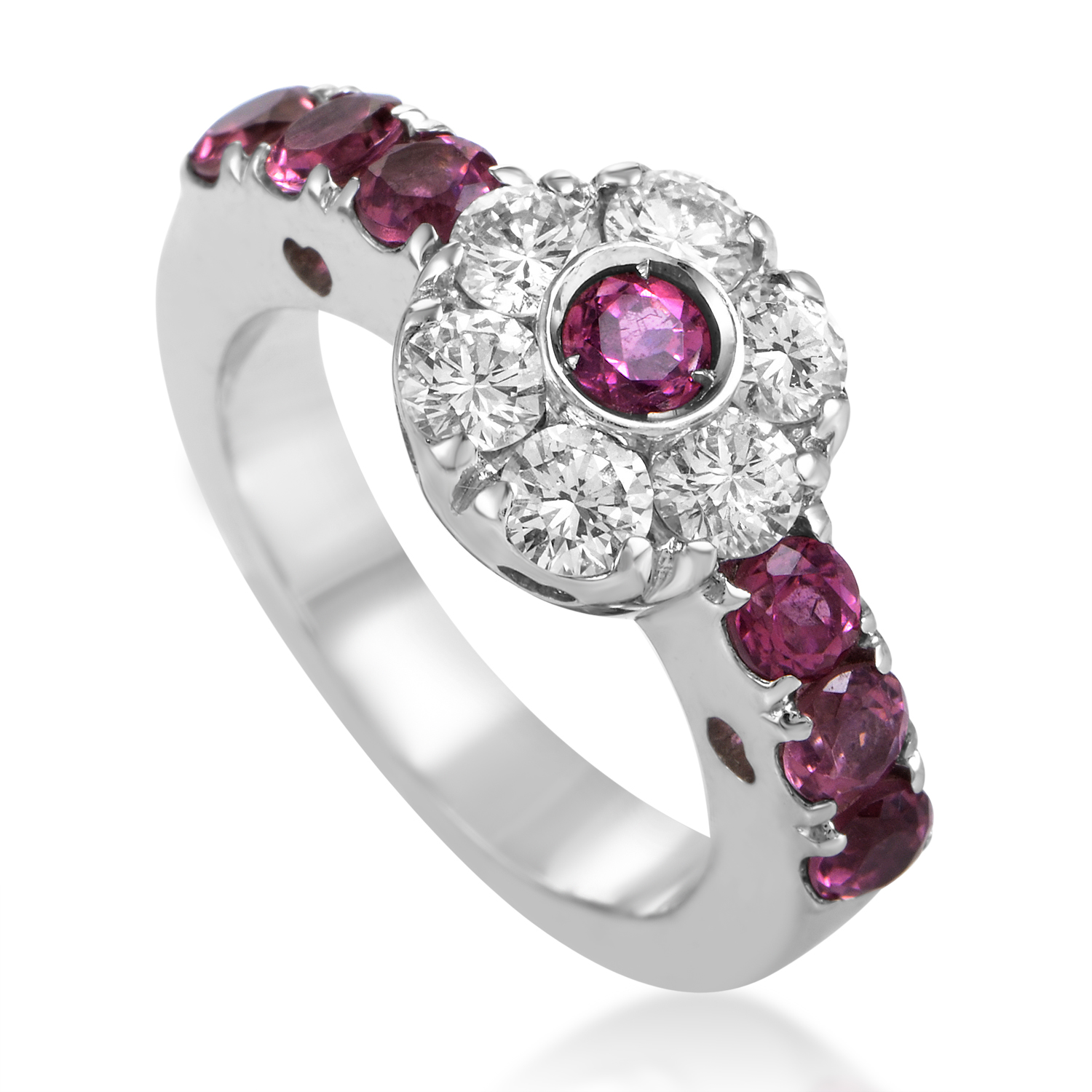 Fiori Women's 18K White Gold Diamond & Pink Sapphire Flower Ring