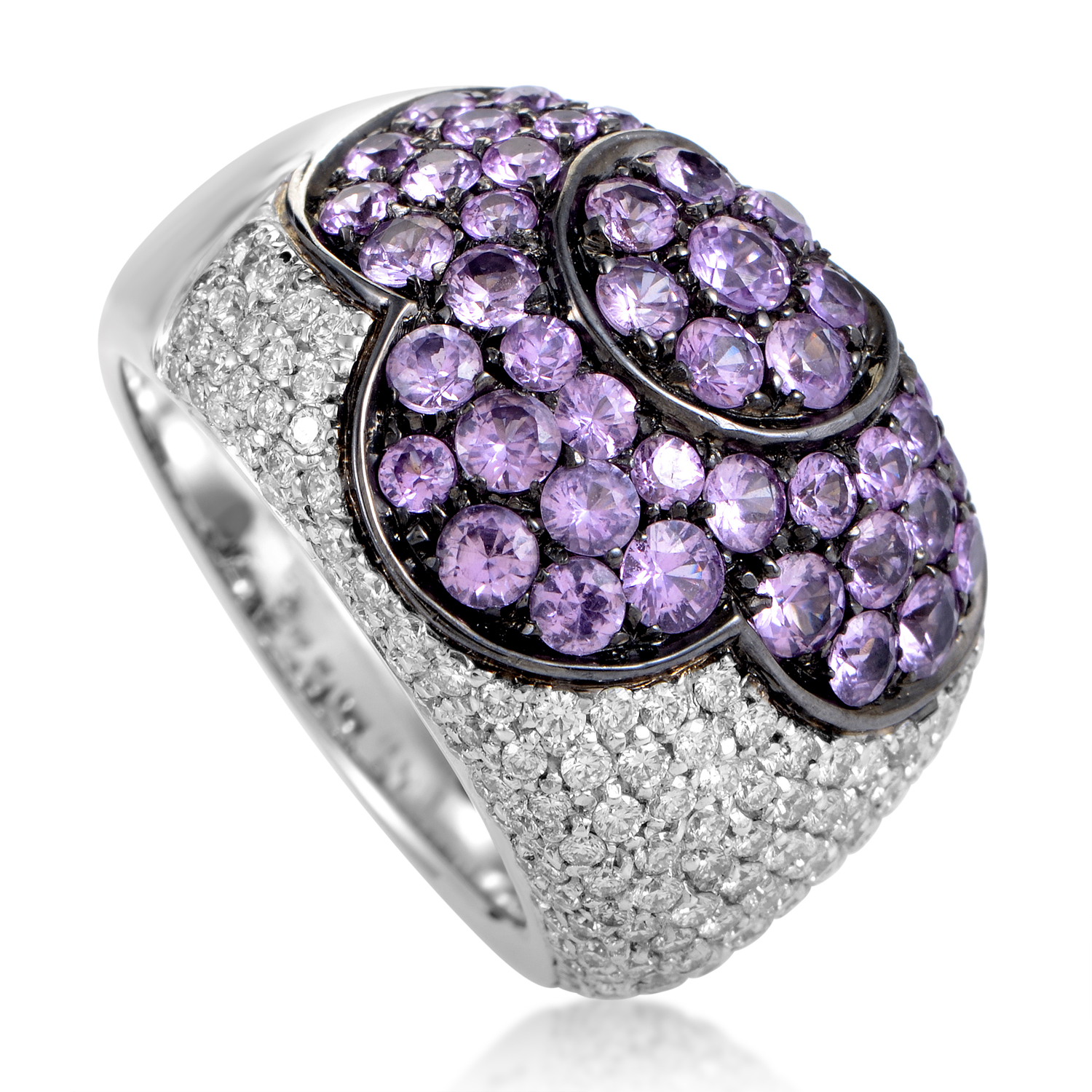 Women's 18K White Gold Diamond & Pink Sapphire Pave Dome Ring