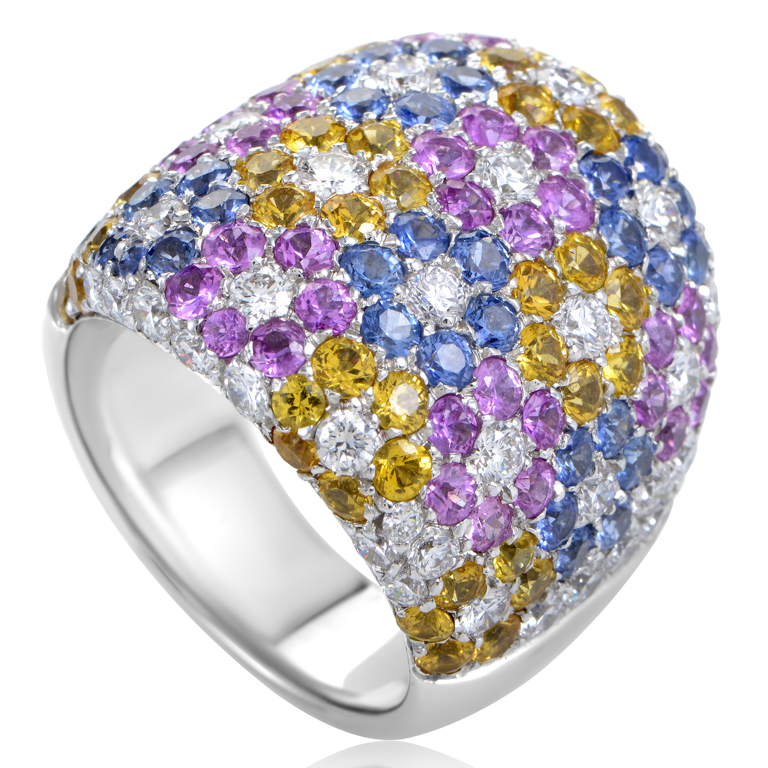 Women's 18K White Gold Diamond & Multi-Sapphire Floral Pave Ring
