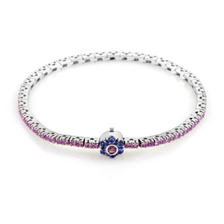 Women's 18K White Gold Multi-Sapphire Flower Tennis Bracelet