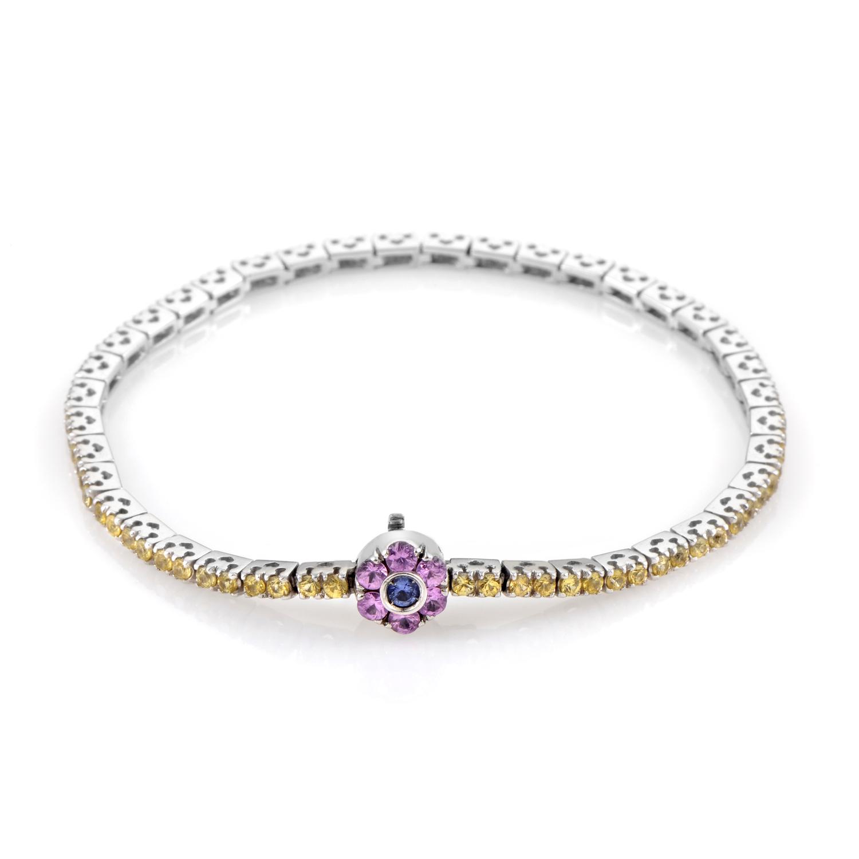 18K White Gold Multi-Sapphire Daisy Tennis Bracelet