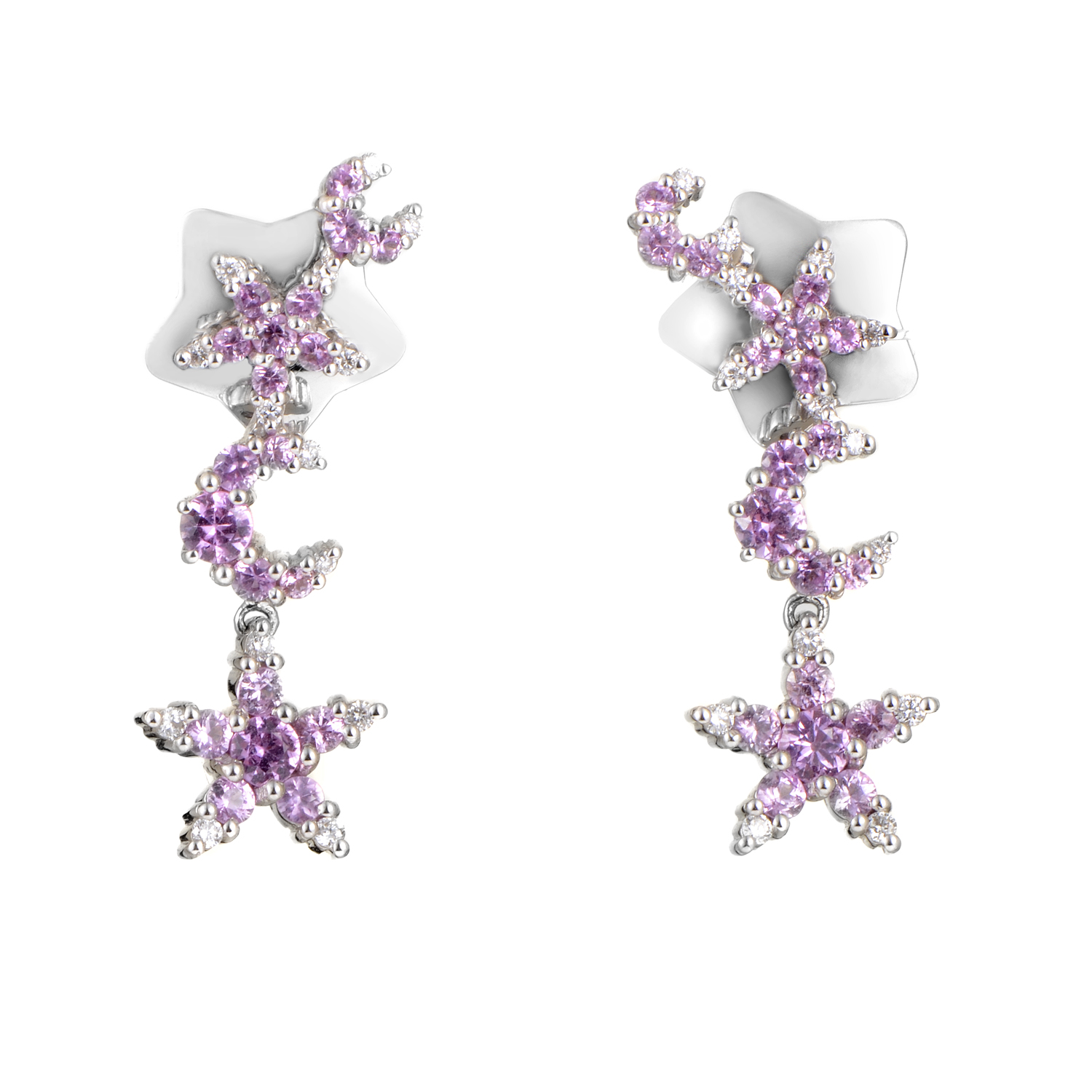 Incanto 18K White Gold Diamond & Pink Sapphire Dangle Earrings