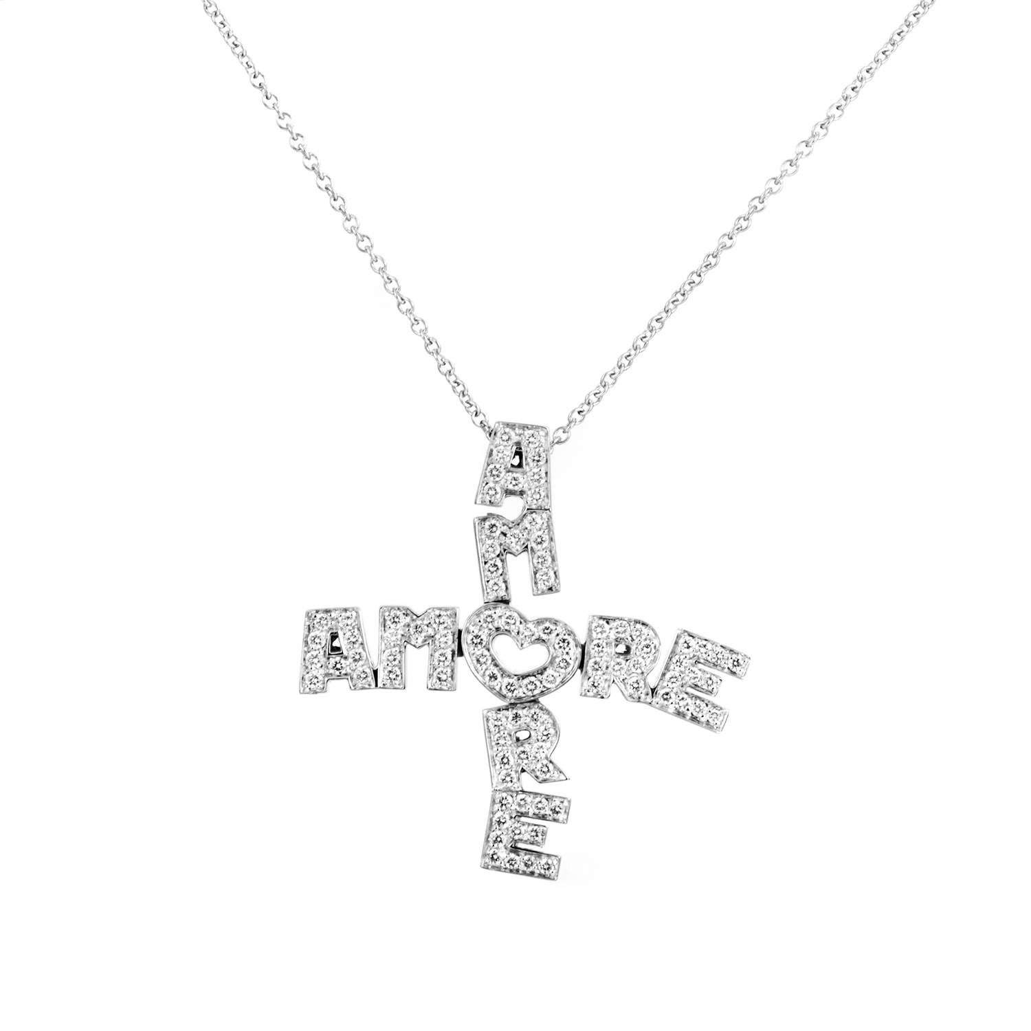 Amore 18K White Gold Diamond Cross Pendant Necklace